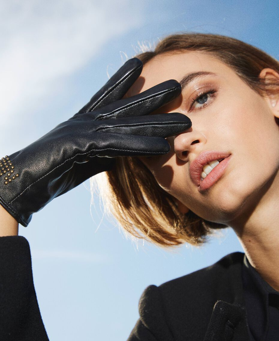 Leather gloves with logo Black Woman 202MA4301-0S