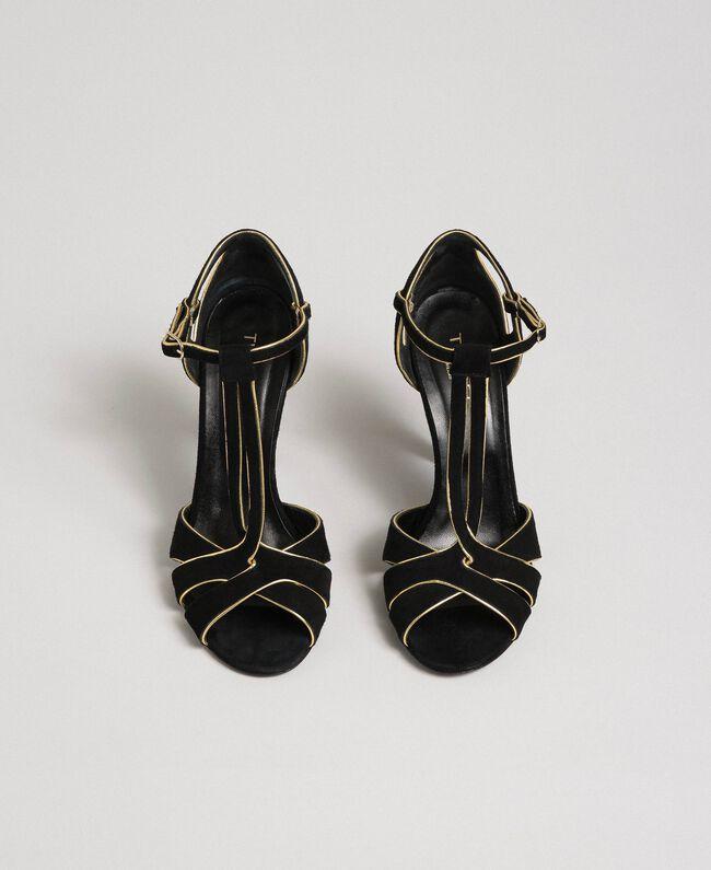 Sandalette aus Rauleder Schwarz Frau 192TCT01G-04