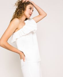 "White denim top with ruffles ""Ice"" White Woman 201MT2364-02"