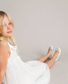 Leather ballerina shoes with butterfly White Child 191GCJ134-0S
