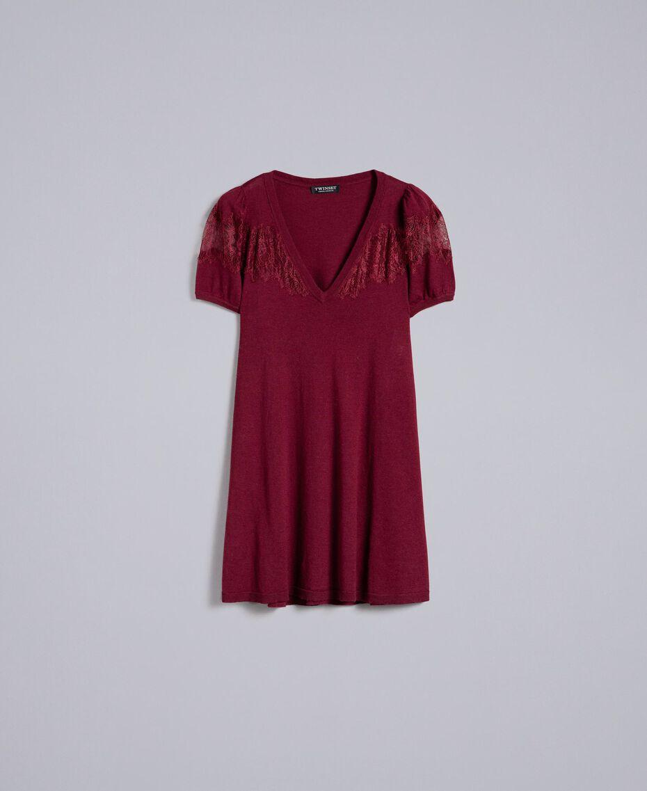 Robe en laine mélangée avec incrustations en dentelle Bordeaux Femme PA83AA-0S