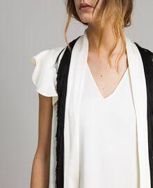 """Fringed belt dress Bicolour """"Snow"""" White / Black Woman 191TT2381-05"""
