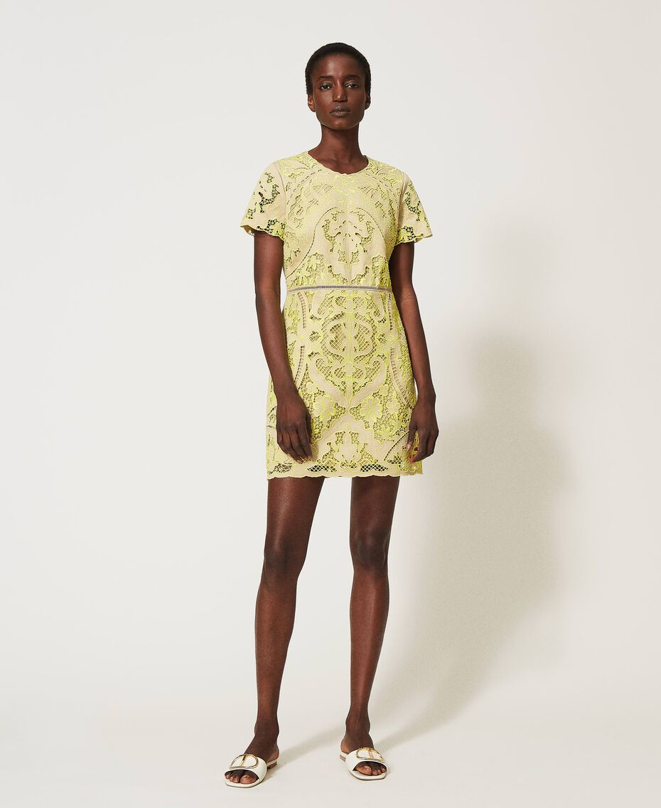 "Dress with broderie anglaise ""LED"" Yellow / ""Cuban Sand"" Brown Woman 211TT2090-02"
