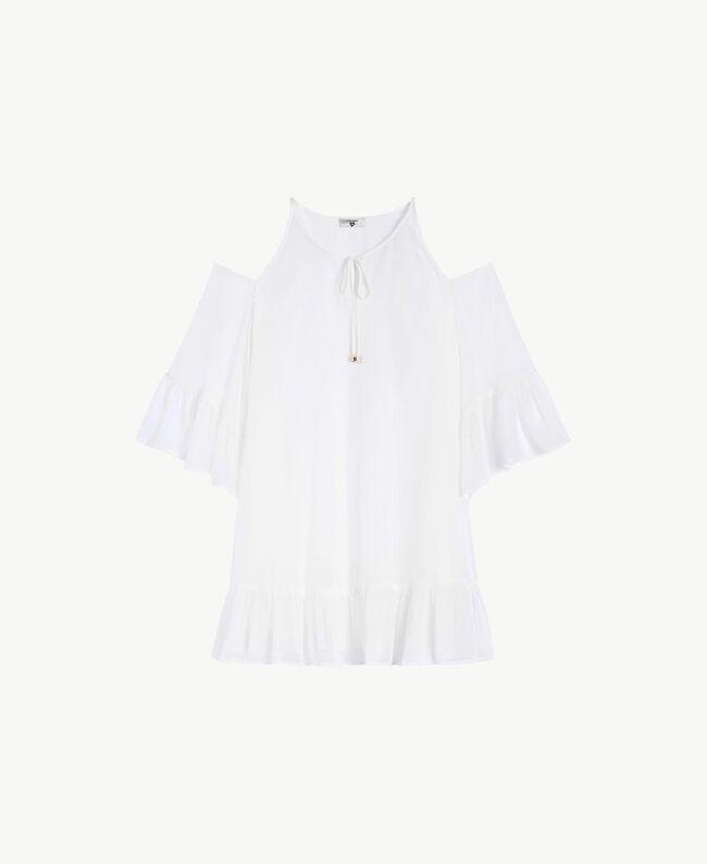 Flounced kaftan White Woman BS82DD-01