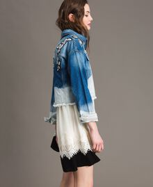Denim jacket with floral patch Bleached Shades Woman 191TT2050-03