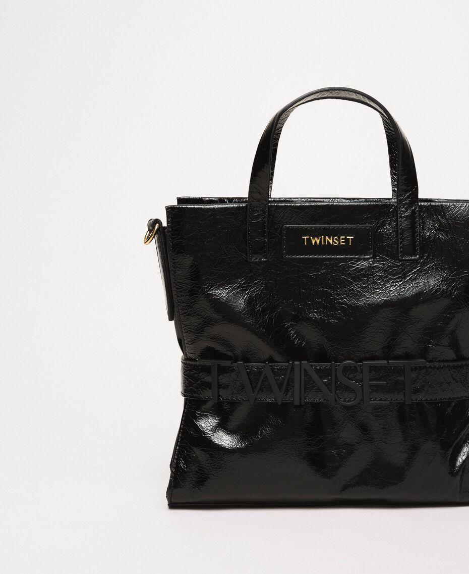 Cabas moyen en cuir avec logo Rose «Jazz» Femme 201TO8091-01