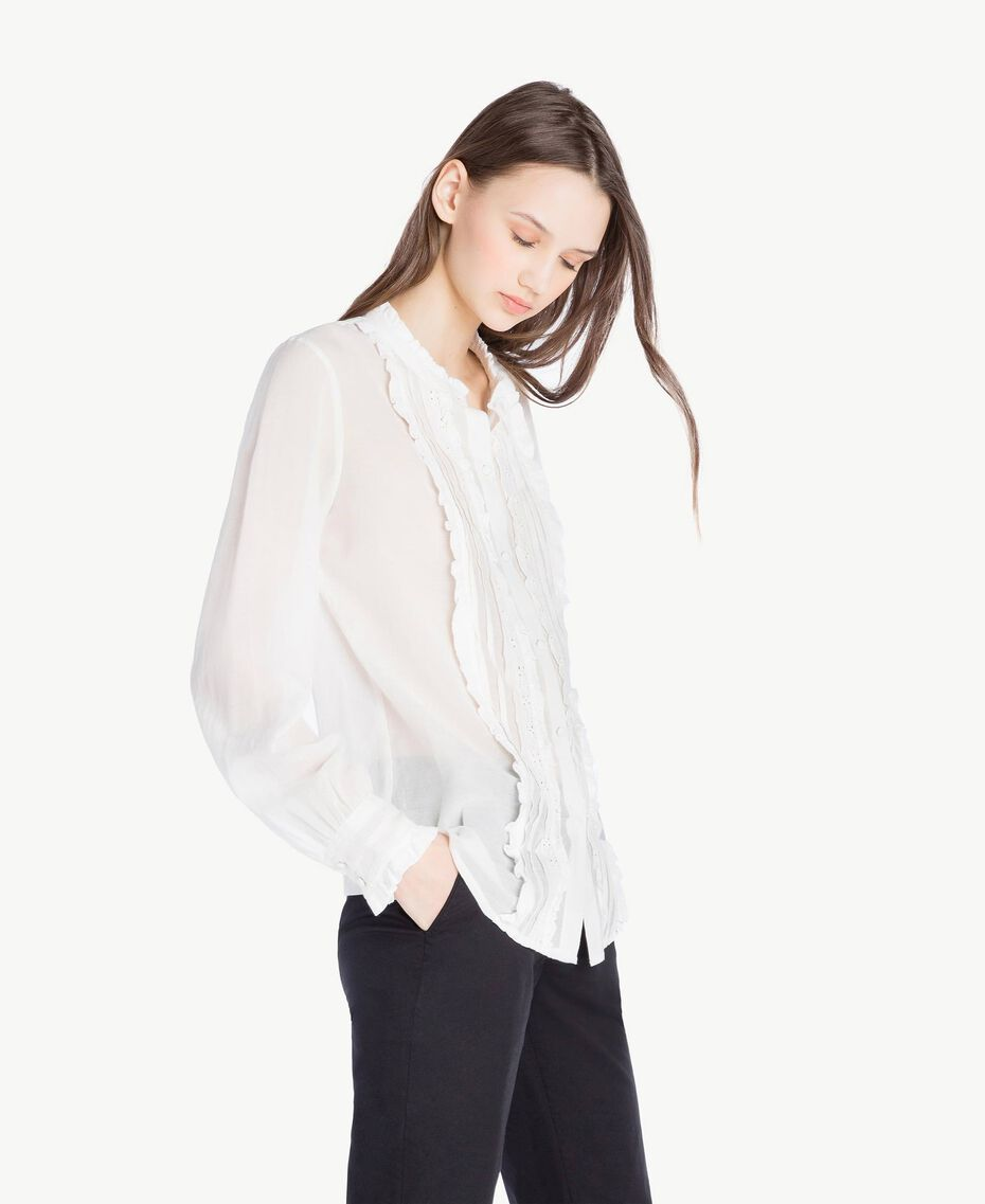 Frilled shirt Ivory Woman SS82HQ-02