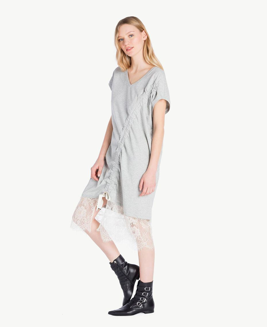 Kleid mit Spitze Hellgrau-Mélange Frau YS82KB-02