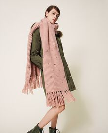 """Knit scarf with pearls and bezels """"Intense Nude"""" Pink Woman 202TO5111-0S"""