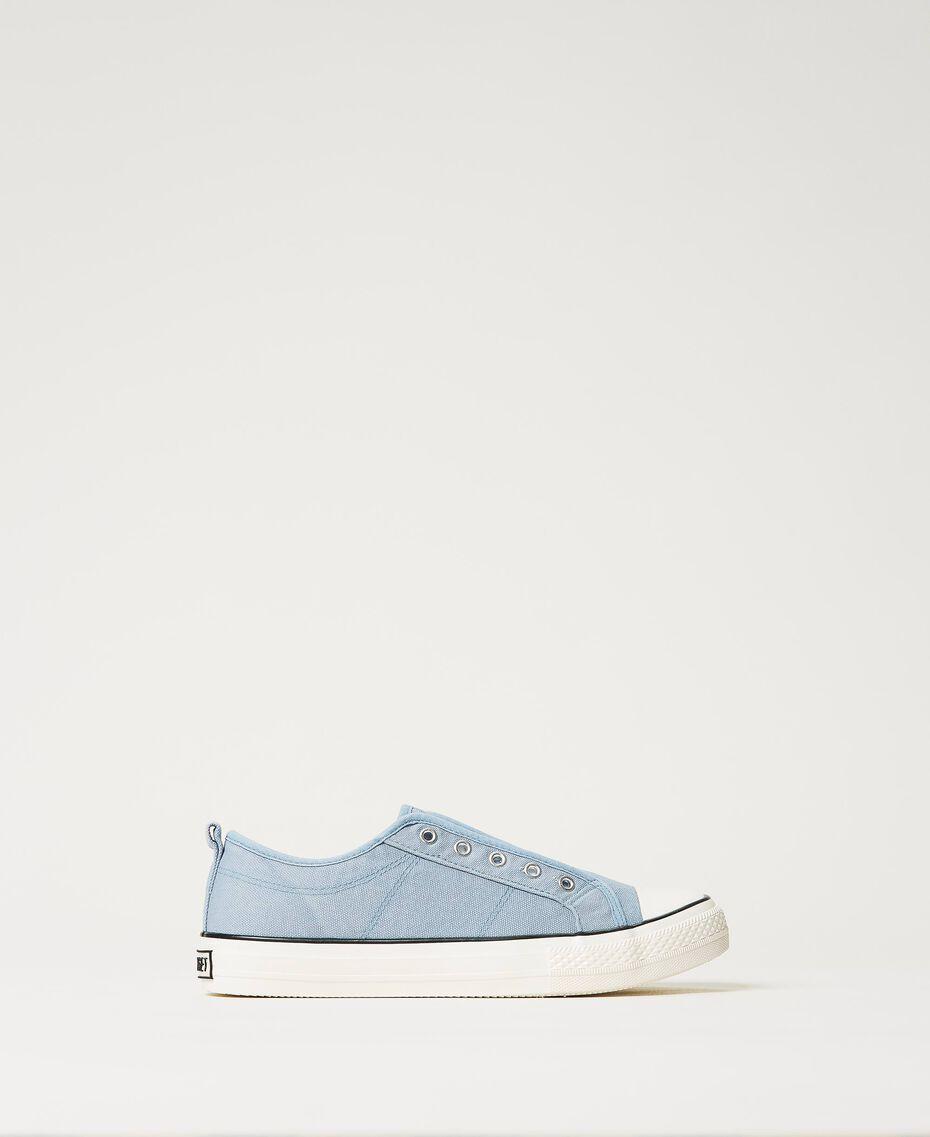 Sneakers de lona con logotipo Denim Mujer 211TCT170-01