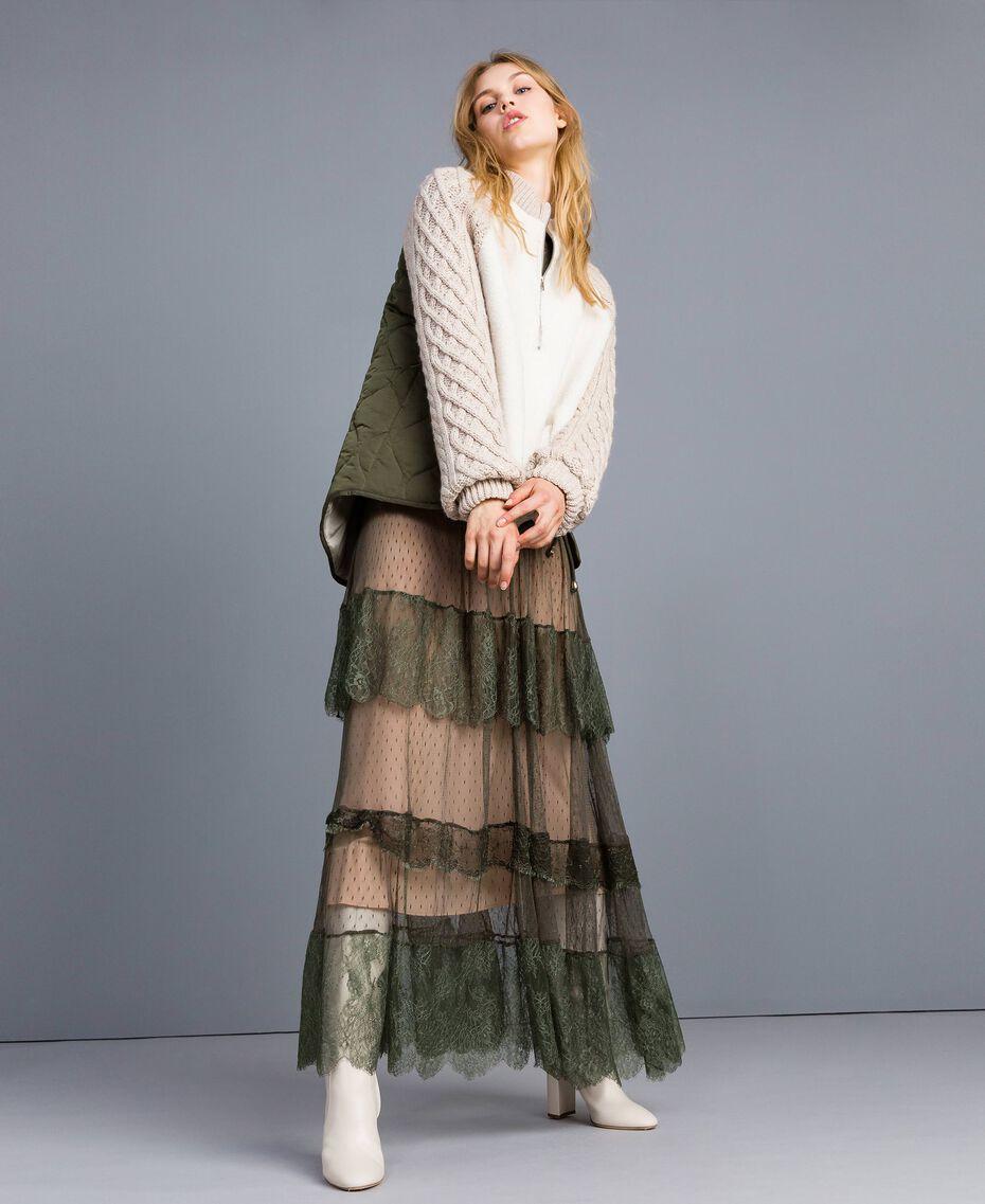 Robe longue en tulle plumetis et dentelle Vert Forêt Femme TA82XA-0T