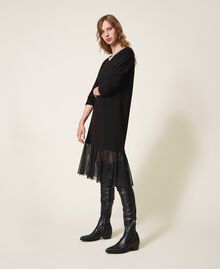 Long dress with tulle Black Woman 202LI2NLL-02