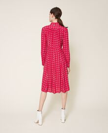 "Crêpe de Chine shirt dress with bow ""Cerise"" Fuchsia /""Dew"" White Optical Print Woman 202ST2502-04"