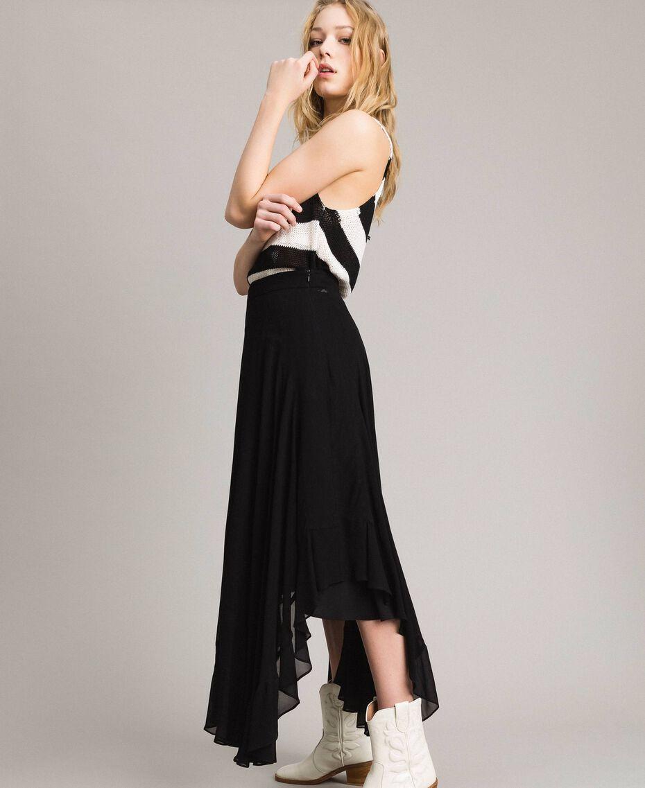 Jupe mi-longue de georgette Noir Femme 191TP2125-02