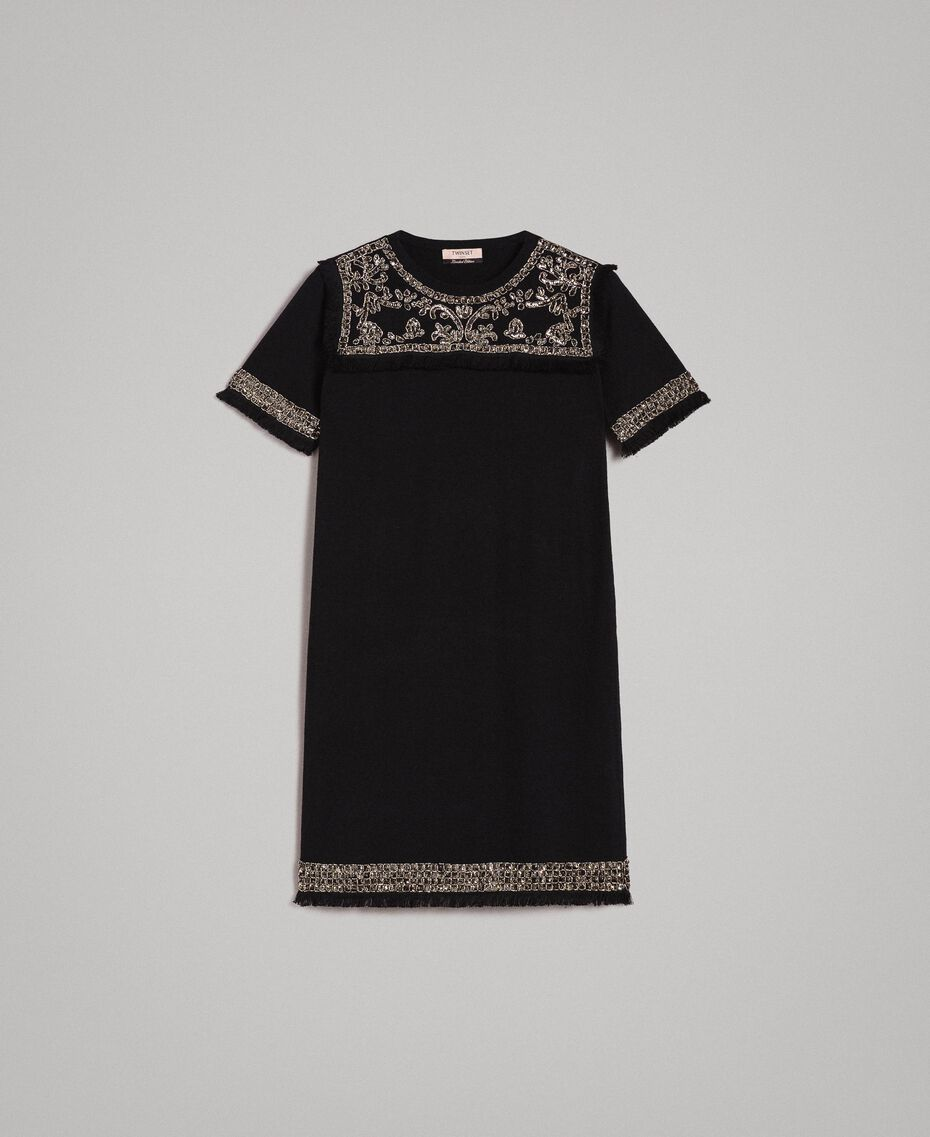 Embroidered linen blend dress with fringed trim Black Woman 191TT3050-0S