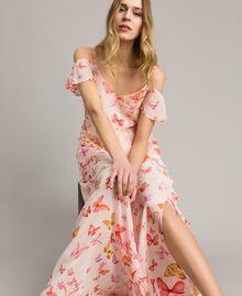 Robe longue en georgette à imprimé papillon Imprimé Papillon Rose Mixte Femme 191TT2391-05