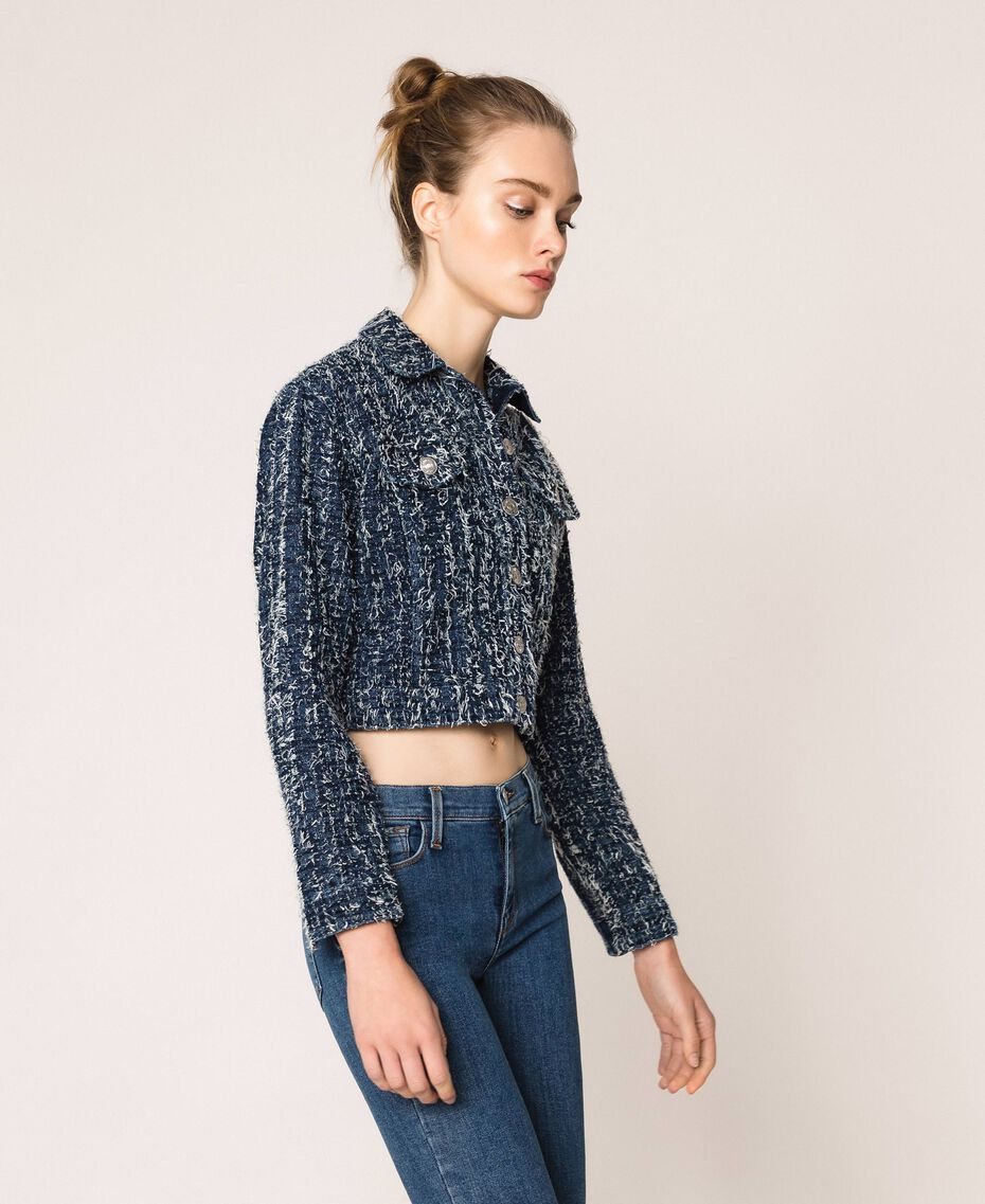 Giacca in jeans con bouclé Denim Blue Donna 201MP234A-02