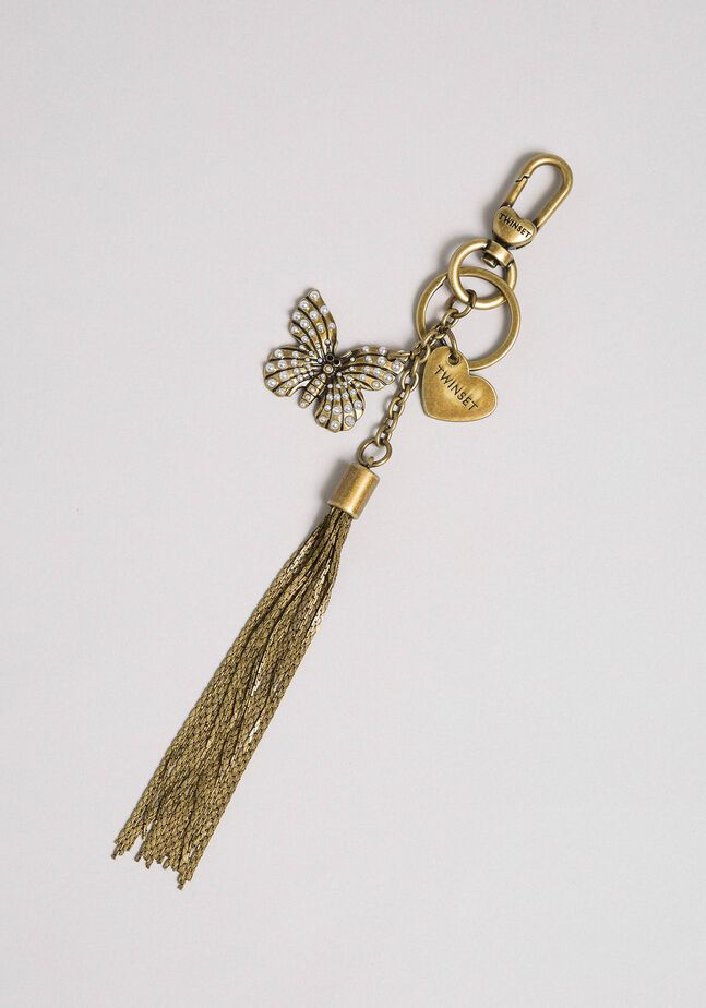 Porte-clés avec papillon, pompon et cœur