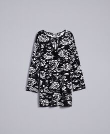 Jacquard knitted floral print dress Black Flower Jacquard Woman SA83EC-0S