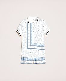 "Short satin pyjamas with logo print Two-tone ""Waterfall"" Blue / Black Woman 201LL28BB-0S"