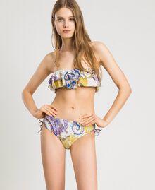 "Paisley print bandeau bikini top ""Milkyway"" Beige / Paisley Print Woman 191LMMS11-02"