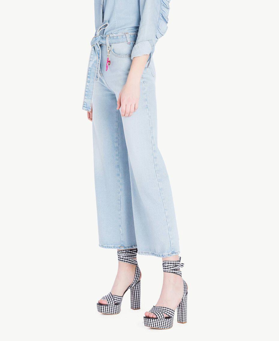 Jeans mit weitem Bein Denimblau Frau JS82WV-02