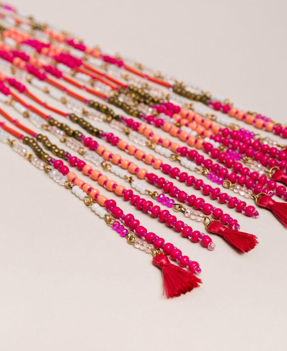 Collier avec perles en cascade et pompons Multicolore Perles Jazz Femme 201TO530F-02