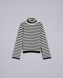 Striped cashmere blend mock neck jumper Black / Mother-of-pearl White Stripe Woman SA83FN-0S