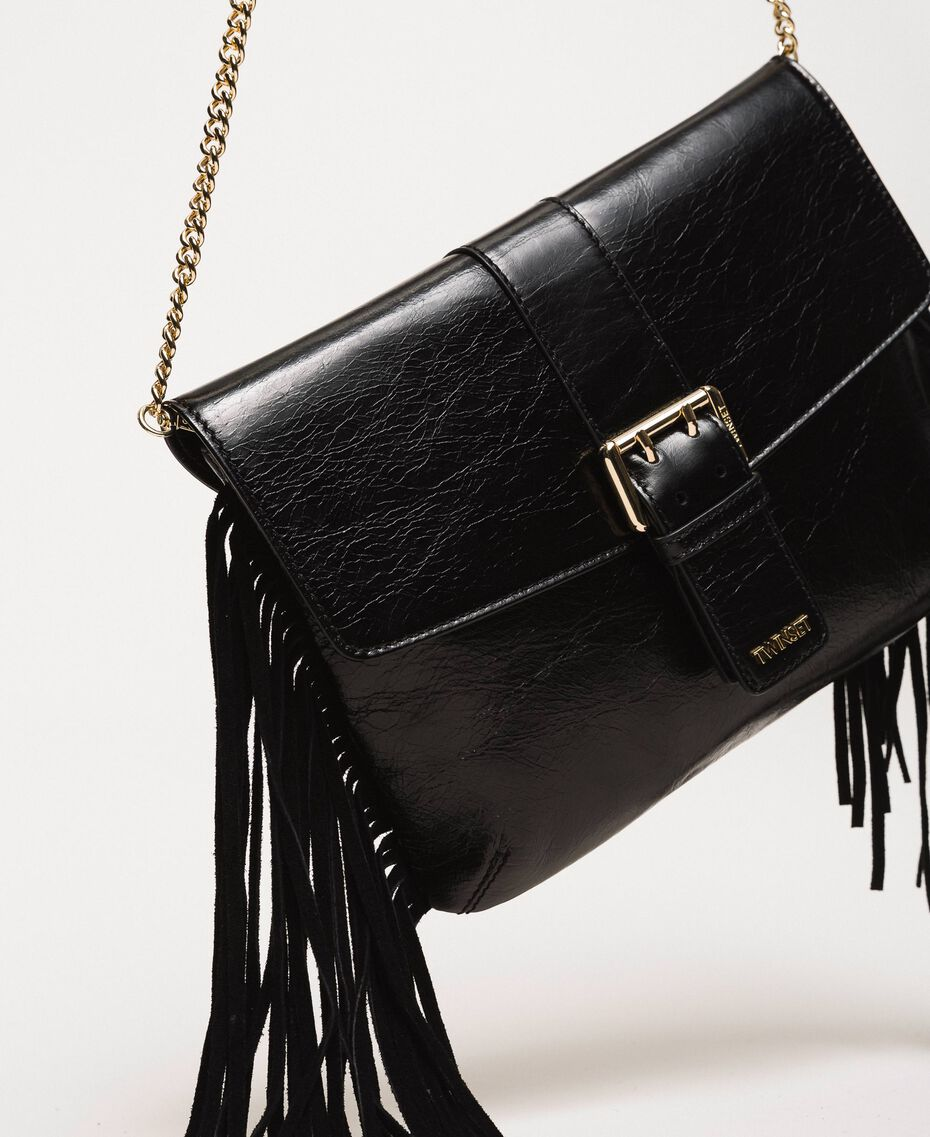 Leather shoulder bag with fringes Black Woman 201TO8142-02