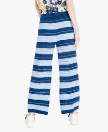 Pantacourt Multicolore Bleu Marine «Pivoine» / Bleu Placide / Beige «Corde» Femme SS83AF-03