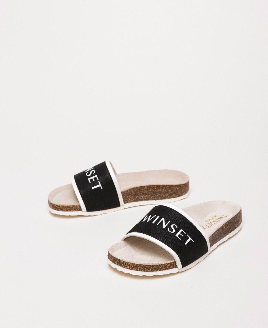 Sandalias slide de tela con logotipo Blanco Niño 201GCJ020-01