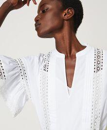 Blouse en popeline avec dentelle Blanc Femme 211TT2464-01