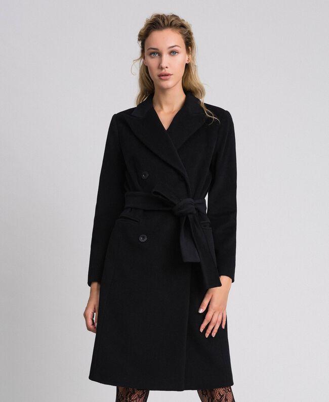Manteau croisé en drap Beige «Camel Doré» Femme 999TT2030-03