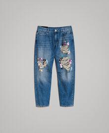 Zerrissene Girlfriend Jeans mit Pailletten Denimblau Frau 191MT2184-0S
