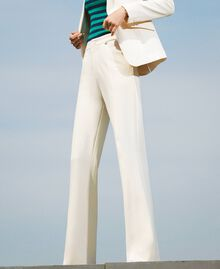 Trousers with crêpe de Chine finishes Creamy White Woman 202MP2292-02