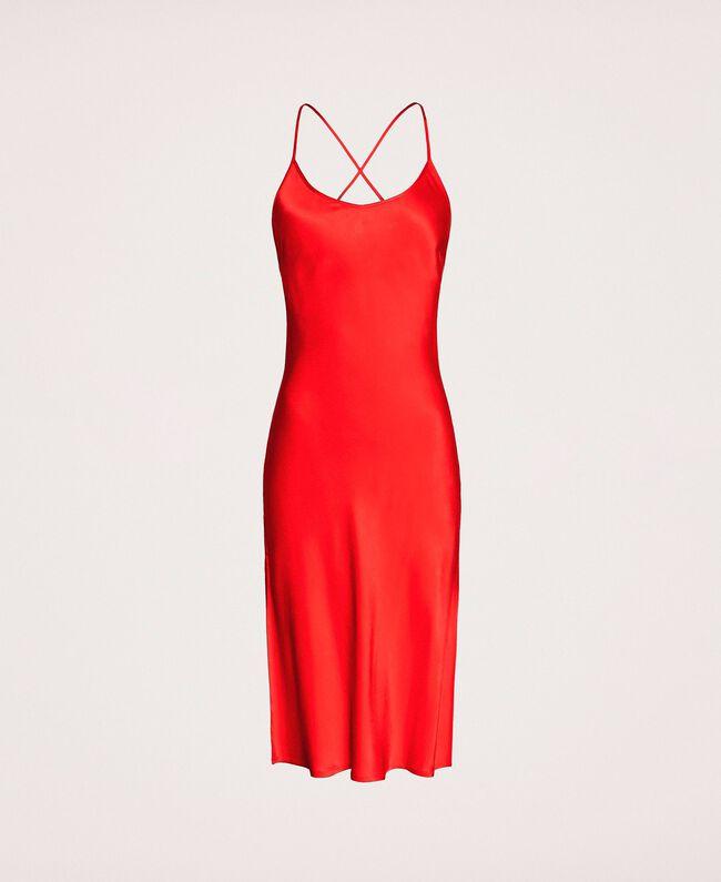 Satin slip Pomegranate Red Woman 201LL23YY-0S