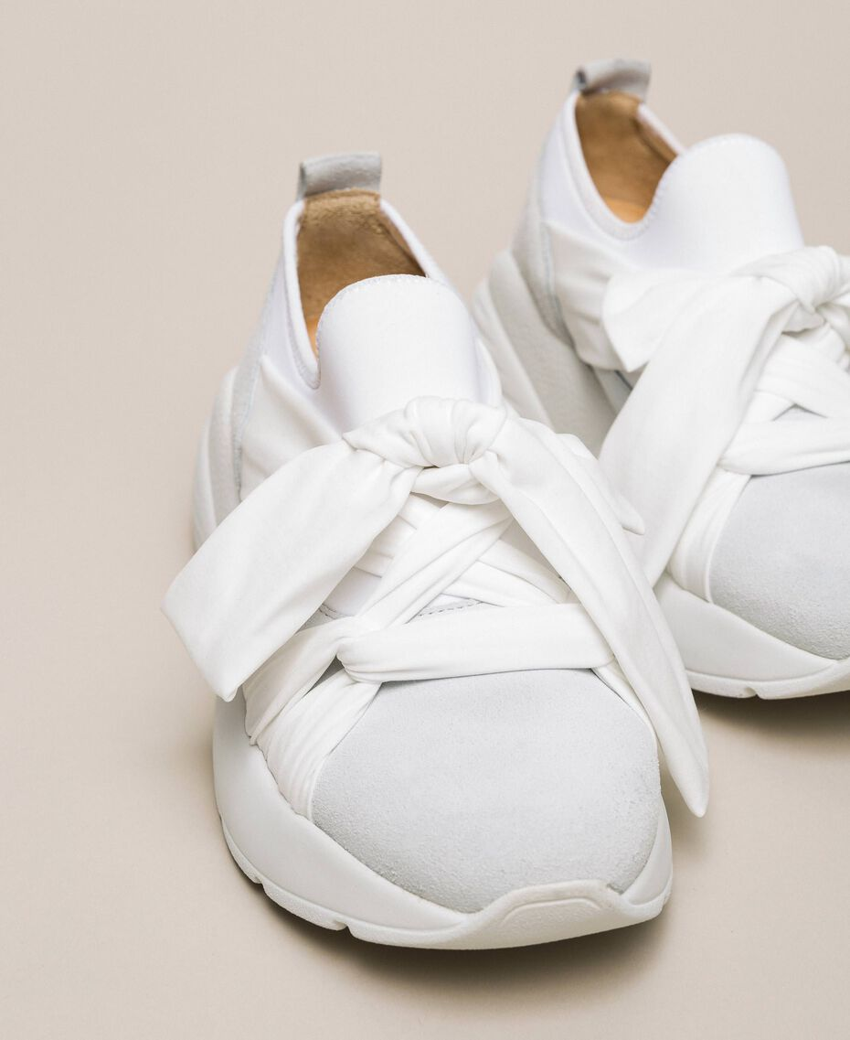 Textilsneakers mit Knoten Weiß Frau 201TCT110-02