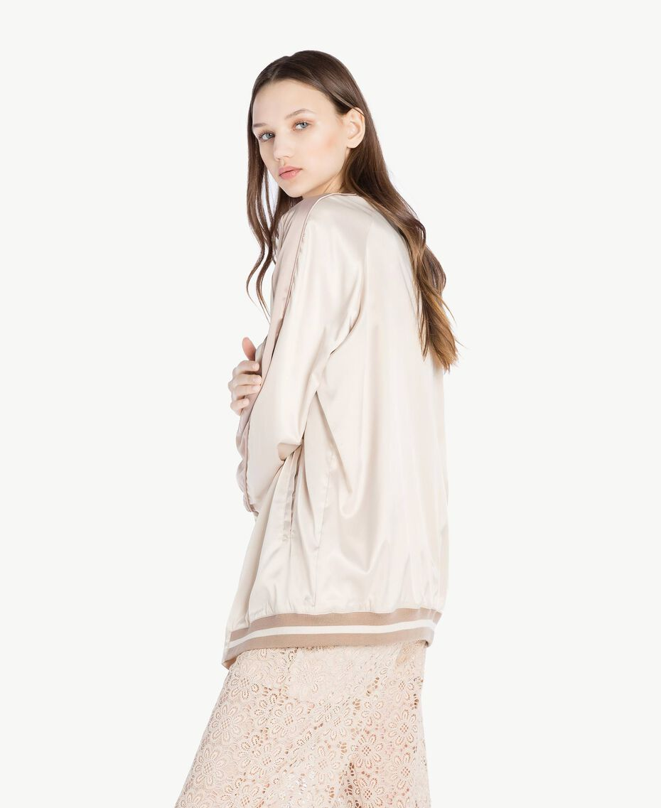 """Satin bomber Two-tone """"Rope"""" Beige / """"Amphora"""" Brown Woman SS82EA-02"""