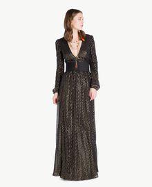 Robe longue Jacquard Noir / Or Femme TS8267-05
