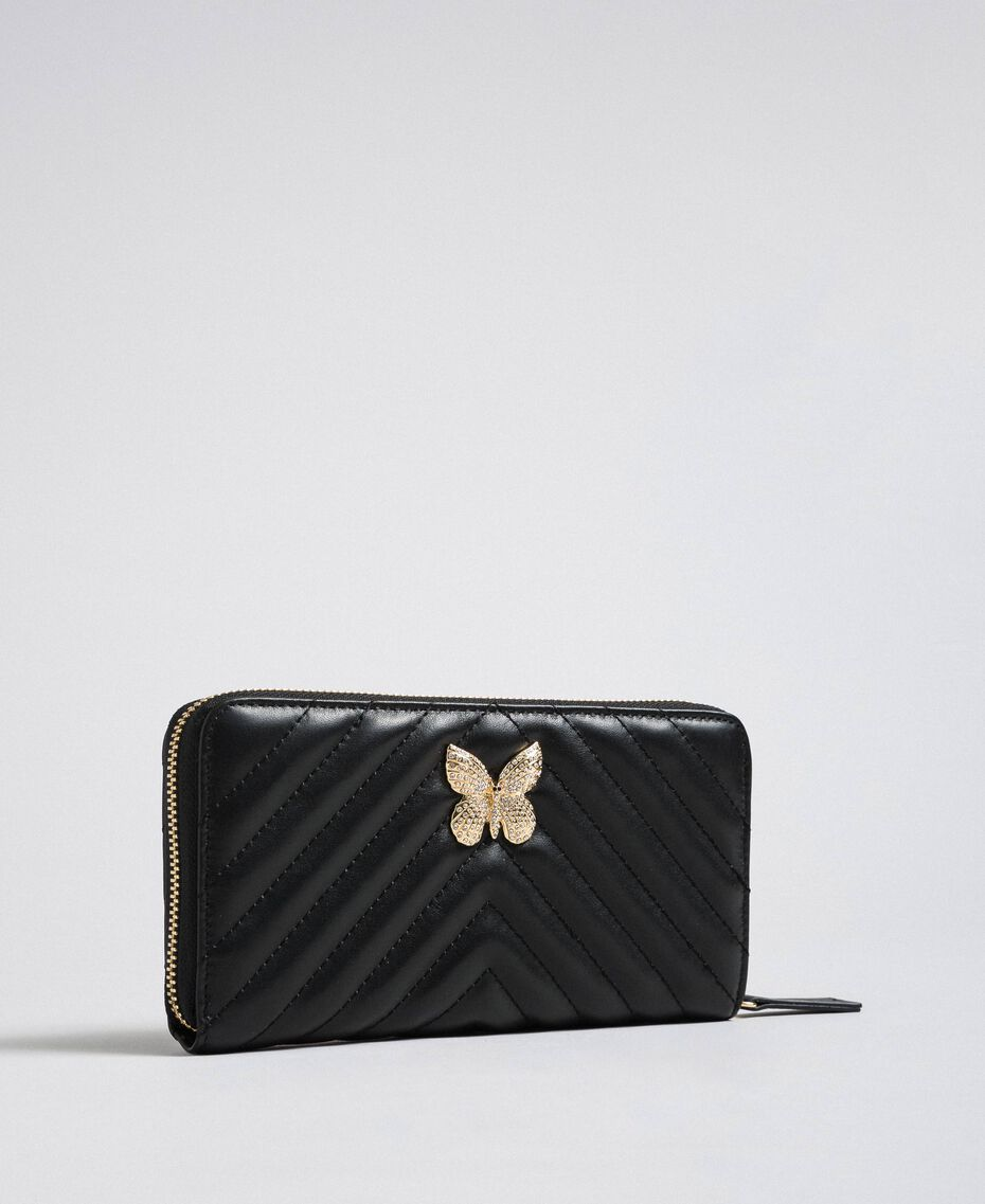 Quilted leather wallet Black Woman 192TA7108-01