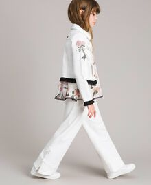 Giacca in bull stretch con ricamo Off White Bambina 191GJ2581-02
