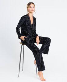Pantalon en velours jacquard dévoré Noir Femme LA8JEE-02
