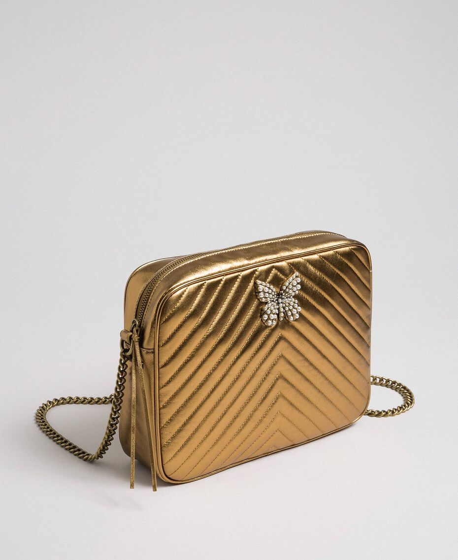 Quilted leather shoulder bag Dark Gold Woman 192TO810D-01