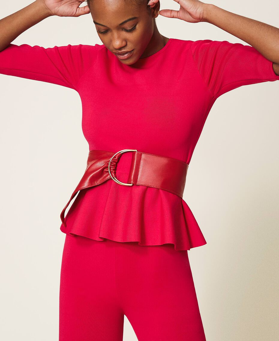 Faux leather sash belt Black Woman 202MA4352-0S