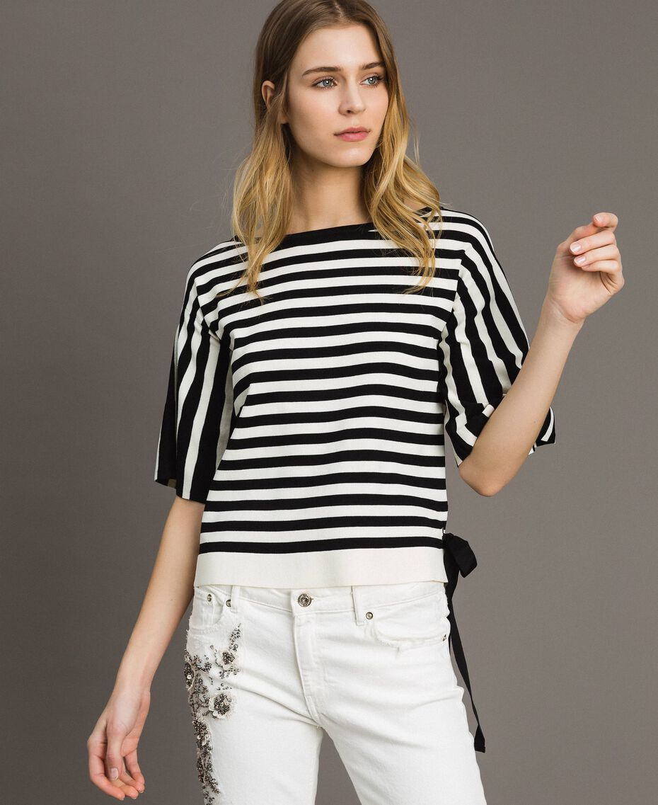 Striped top with bow Black / Ecru Striping Woman 191ST3020-01