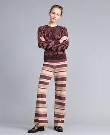 Pantalon palazzo rayé en lurex Multicolore Rose / Bordeaux Femme PA832Q-0T