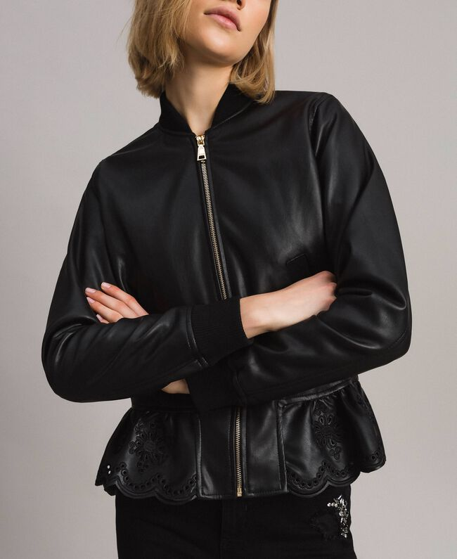 54ac6964e Faux leather bomber jacket Woman, Black | TWINSET Milano