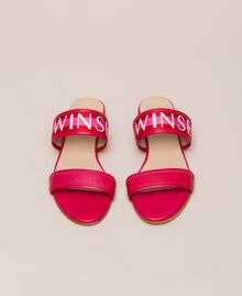 "Leather sliders with logo band Two-tone ""Geranium"" Red / ""Jazz"" Pink Woman 201TCT04J-05"