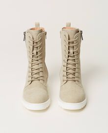 Canvas combat boots with logo Incense Beige Woman 211TCT070-05