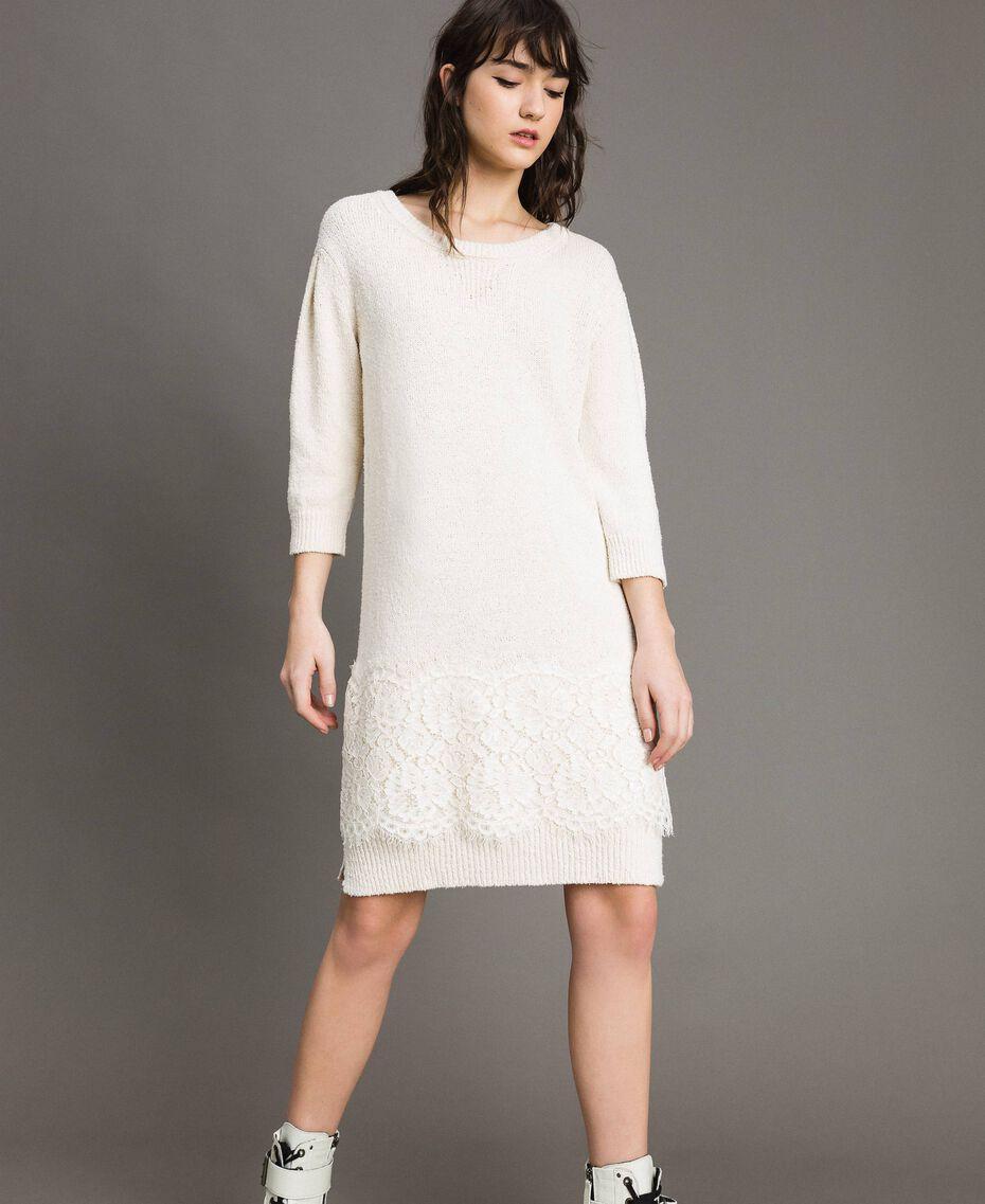 Robe en maille avec dentelle Blanc Neige Femme 191TP3200-02